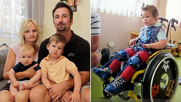 Susanne und Markus Ödendorfer mit ihren zwei Kindern. Der ältere Sohn Philipp ist schwer behindert. (Bild: Klemens Groh)