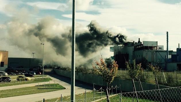 Eine gewaltige Rauchsäule stieg von der Müllverbrennungsanlage auf.