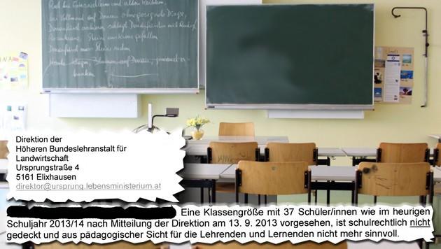 """Das Bundesministerium schrieb an die Schule: 37 Schüler sind """"schulrechtlich nicht gedeckt""""."""