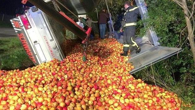 Der Laster stürzte in den Straßengraben und verlor dabei seine Obstladung. (Bild: APA/STADTFEUERWEHR OBERPULLENDOR)