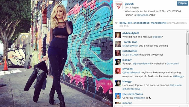 Die Modemarke Guess hat sein neuestes Markengesicht über Instagram gefunden.