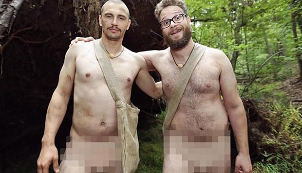 Pudelnackert präsentieren sich James Franco und Seth Rogen auf Instagram.
