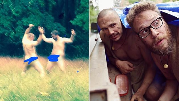 Naked and afraid? James Franco und Seth Rogen sorgen für Spaß im Internet.