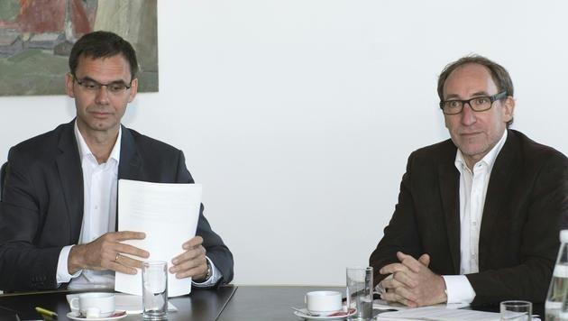 Vorarlbergs Landeshauptmann Markus Wallner (ÖVP) und Grünen-Chef Johannes Rauch (re.) (Bild: APA/DIETMAR STIPLOVSEK)