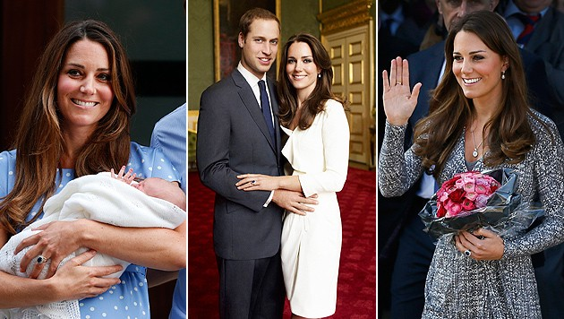 Kate mit Prinz George (l.), bei ihrer Verlobung (m.), sie gilt als Stilikone (r.) (Bild: EPA, AP)