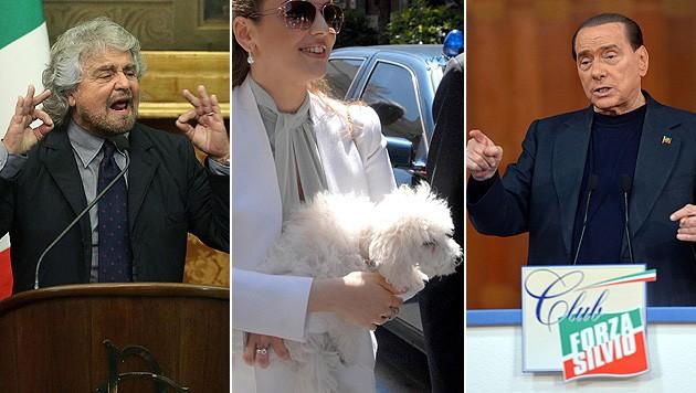 Beppe Grillo wettert gegen den Hund von Silvio Berlusconi. (Bild: APA/EPA/A. DI MEO, E. FERRARI, L. TURI/EPA/picturedesk.com)
