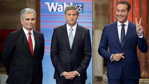 Das waren die Spitzenkandidaten 2013: Werner Faymann, Michael Spindelegger, Heinz-Christian Strache (Bild: APA/Georg Hochmuth)