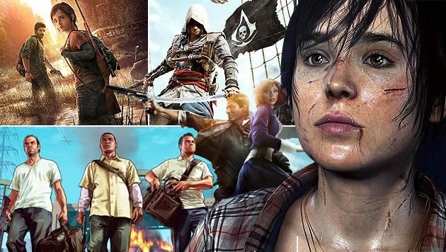 (Bild: Sony, Ubisoft, Rockstar, 2K, krone.at-Grafik)