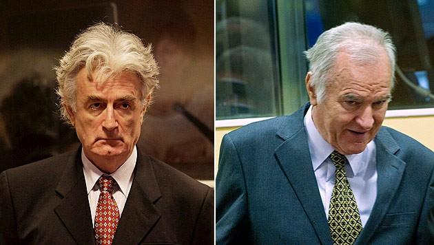 Radovan Karadzic und Ratko Mladic in Den Haag (Bild: EPA, AP)